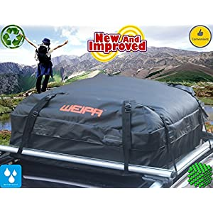 WEIPA®  15 Cubic Feet Roof Top Cargo Luggage Travel Bag -Roof Top Cargo Carrier for Cars, Vans and SUVs - Ideal for Travel or Off-Roading - Waterproof Tarpaulin Material, Easy to Use
