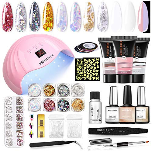 Modelones Poly Nail Gel Nail Extension Kit, 30g Nail Extension Gel with 48W Nail Lamp Slip Solution Nail Strengthener Rhinestone Glitter All In One for Nail Manicure Beginner Starter Kit One Fluorescent Color