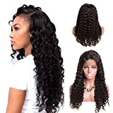 LaaVoo Human Hair Wigs Lace Front 150% High Density Deep Wave Glueless Pre Plucked Natural Hairline with Baby Hair for Black Women Natural Color 14 inch