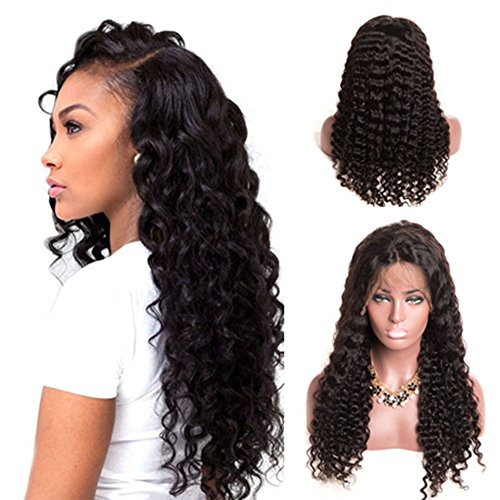 LaaVoo Human Hair Wigs Lace Front 150% High Density Deep Wave Glueless Pre Plucked Natural Hairline with Baby Hair for Black Women Natural Color 14 inch by LaaVoo