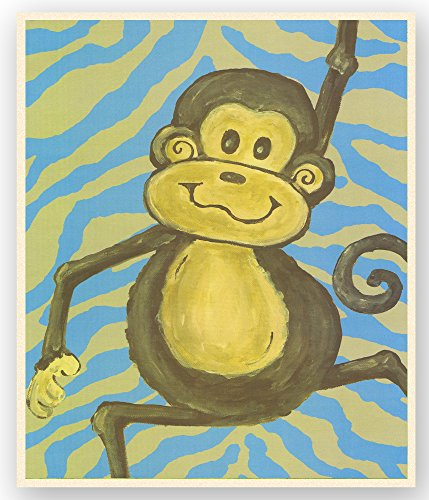 The Kids Room by Stupell Lil Buddy Monkey with Blue Zebra Stripes Rectangle Wall Plaque