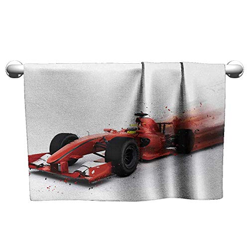 alisoso Cars,Shower Towel Generic Formula 1 Racing Car Illustration with Special Effect Turbo Motion Auto Print Hotel Pool Towels Red Black W 28