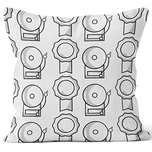 Nine City School Bell Alarm and Medal Signal Throw Pillow Cushion Cover,HD Printing Decorative Square Accent Pillow Case,40