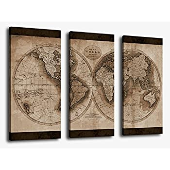 Amazon canvas wall art world map painting artwork large 3 canvas wall art world map painting artwork large 3 pieces canvas art vintage map of gumiabroncs Images