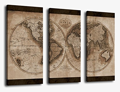 Canvas Wall Art World Map Painting Artwork - Large 3 Pieces