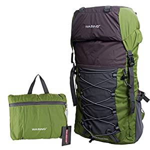 WASING 50L Ultra Lightweight Water Resistant Packable Backpack Travel Hiking Daypack WS-HK-Army green