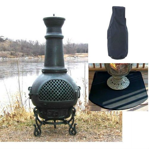 QBC Bundled Blue Rooster Gatsby Wood Burning Chiminea(44in H x 20in W) Antique Green Color with Large Cover and Half Round Flexible Fire Resistant Chiminea Pads – Plus Free QBC Metal Chiminea eGuide