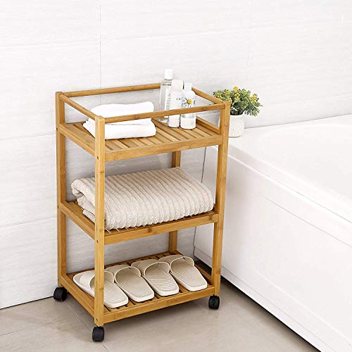 Trustiwood Bathroom Storage Cart Serving Bar Cart Utility Trolley Organizer Rack with 3 Shelves and Locking Wheels for Kitchen Living Room Bamboo Wood by Trustiwood (Image #4)