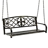 Best Choice Products Outdoor Furniture Metal Fleur-De-Lis Hanging Patio Porch Swing – Bronze