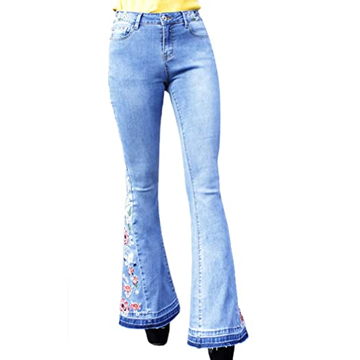 arrives purchase genuine bright n colour Raylans Women's Bell Bottom Flare Jeans Mid Rise Slit Ripped Fit Long Denim  Pants