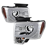 Ford F150 Projector Headlights Factory Xenon Model Only ( Not Compatible With Halogen Model ) Light Bar DRL Chrome Housing With Clear Lens+Free Gift Universal DRL 8 White LED Lights
