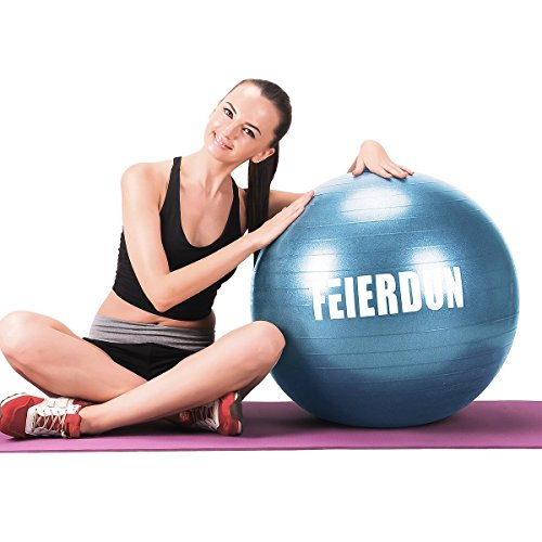 Exercise Ball (Multiple Sizes) for Fitness,Stability,Balance & Yoga-Anti Burst Professional Quality Design with Hand Pump- 55cm/65cm/75cm/85cm Balance Fitness Balls