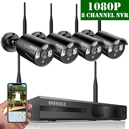 (【2019 Update】 OOSSXX HD 1080P 8-Channel Wireless Security Camera System,4 pcs 1080P 2.0Megapixel Wireless Weatherproof Bullet IP Cameras,Plug Play,70FT Night Vision,P2P,App, No Hard Drive)