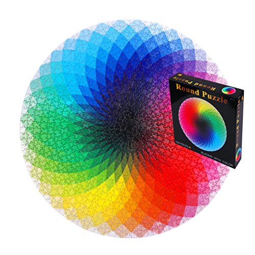 Round Rainbow Jigsaw Puzzles 1000 Pcs Blazing With Color Challenging Game for Kids, Adults (Jigsaw Rainbow)