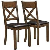 Monarch Specialties Walnut/Dark Brown Leather-Look 2-Piece Dining Chair, 40-Inch