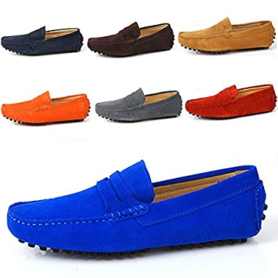 Santimon - Men's Casual Comfort Genuine Nubuck Leather Outdoor Low Boat Shoes Moccasin Loafers
