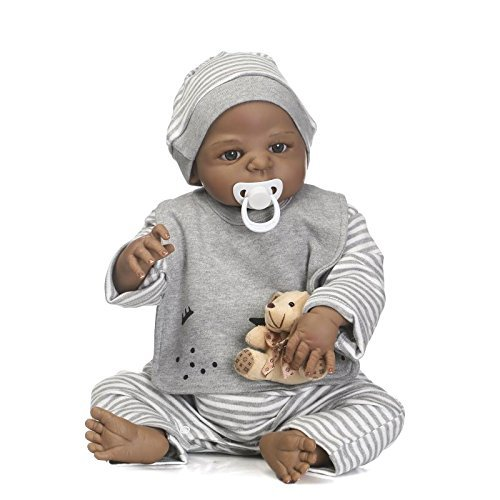 - Zero Pam 23 Inch Full Silicone Vinyl Reborn Baby African American Baby Doll Boy Washable Handmade Lifelike Bathe Partner Toys for 3 Age+