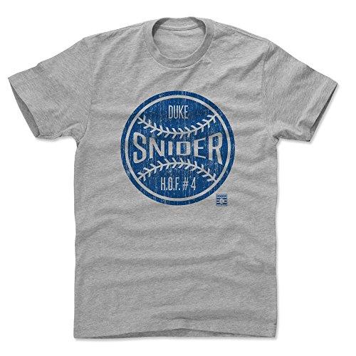 500 LEVEL Duke Snider Cotton Shirt (XX-Large, Heather Gray) - Brooklyn Dodgers Men's Apparel - Duke Snider Ball B