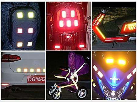 maiqiken 10pcs Cinta Reflectante Adhesiva Rojo Universal Coche Moto Bicicleta Pegatina Seguridad 60 x 60 mm