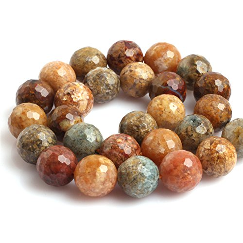 - JOE FOREMAN 12mm Multicolored Agate Semi Precious Gemstone Round Faceted Loose Beads for Jewelry Making DIY Handmade Craft Supplies 15