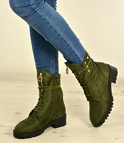 Winter Studded Green Shoes Lace 3 Fashion Ankle UK Ladies 8 Hiking Size Boots Women New Cucu Up Combat Military Desert gO0F6wq