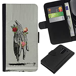 KLONGSHOP // Tirón de la caja Cartera de cuero con ranuras para tarjetas - Anatomy Drawing Rosas Lápiz - LG G3 //