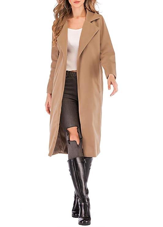 df2fc256a Romacci Women's Coat Long Sleeve Pocket Longline Winter Fall Warm Coat  Overcoat