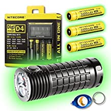 Olight SR Mini Intimidator 3 x CREE XM-L2 LED Flashlight - 2800 Lumen w/Free Keychain Light (SR Mini + 3x NL189 + D4 Charger + Keychain Light)