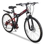 Image of BIKECOO 26'' Folding Mountain Bike 21 Speed Foldable Bicycle Disc Brake MTB