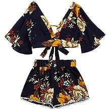 Women Blouse, ღ Ninasill ღ Hot Sale ! Two Piece Set Women Botanical Print Summer V Collar Tops T Shirt Tank (M, Black)