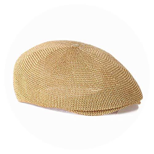 Straw Beret Solid Color Visors Man Woman Panama Shades Cap Vintage hat,Beige