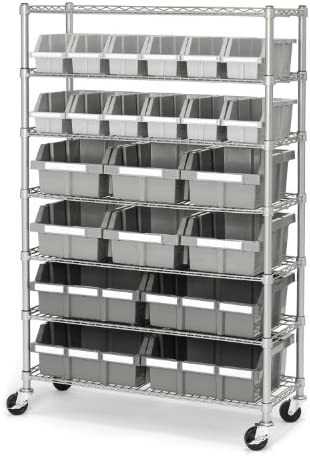Seville Classics Commercial 7-Tier Platinum Gray NSF 22-Bin Rack Storage System