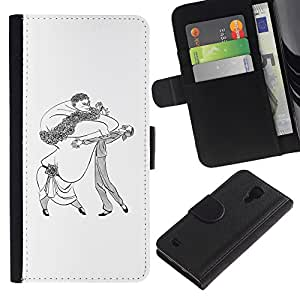 Be-Star la tarjeta de Crédito Slots PU Funda de cuero Monedero caso cubierta de piel Para Samsung Galaxy S4 IV I9500 ( Dance Caricature Man Woman Big Drawing Art )