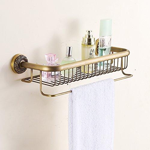 Hiendure Solid Brass Bathroom Shelf Comestic Orgnization Basket with Towel Bar, Antique Brass ()