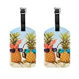 ALAZA Beach Couples Pineapples Luggage Tags Travel Bag Tag Suitcase Labels 2pcs
