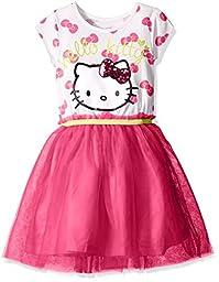 Hello Kitty Little Girls\' Bow Print Tutu Dress, Fuchsia Purple, 4