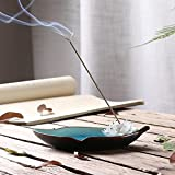 Moonlove Handmade Incense Burner Lotus Porcelain Incense Stick Holder Stand Ash Catcher Tray Plate Home Buddhist Temple Decor Birthday, Blue