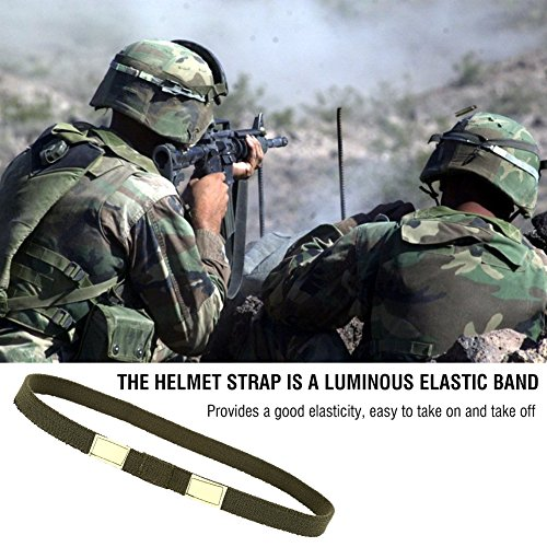 2pcs Tactical Helmet Strap Reflective Helmet Band Cat Eyes Camo Strap Helmets Band For M1 M88 MICH Military Helmet(Army -