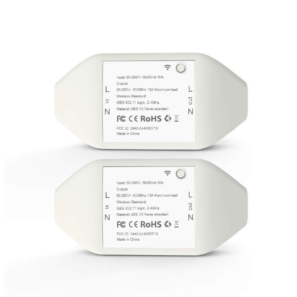 meross connecté e WiFi Switch Intelligente Universel Socket Compatible avec  Alexa (Echo et Echo Dot), Google Assistant et IFTTT, Smart Home DIY pour Les appareils é lectriques, MSS710KIT, 2PCS Smart Home DIY pour Les appareils électriques