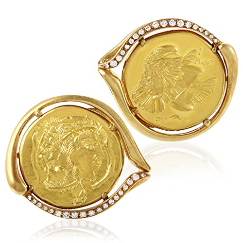 Piaget Men's 18K & 22K Yellow Gold Diamond Coin Cufflinks - 18k Diamond Cufflinks