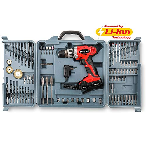 Hi-Spec 20V Cordless Power Drill 1300mAh Lithium-Ion with 89pc Wood, Masonry & Steel Drill Bits, Screwdriver Bits, Wire Brush Wheels, Grinding & Polishing Accessories Professional Drill Kit in Case (Kits Bit Drill)
