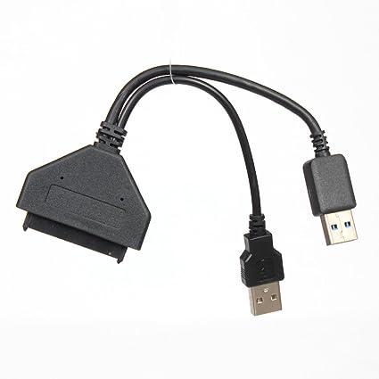 Cable adaptador USB 3.0 A SATA 22 pines Cable de alimentación con ...