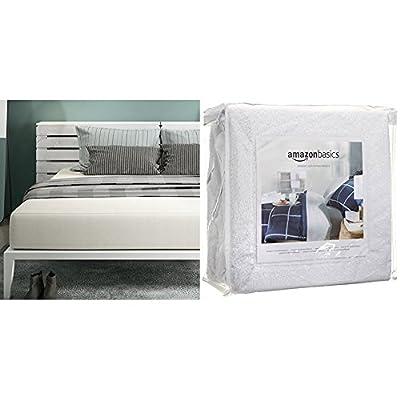 Signature Sleep Memoir 12 Inch Memory Foam Mattress with CertiPUR-US certified foam, King with AmazonBasics Hypoallergenic Vinyl-Free Waterproof Mattress Protector, King