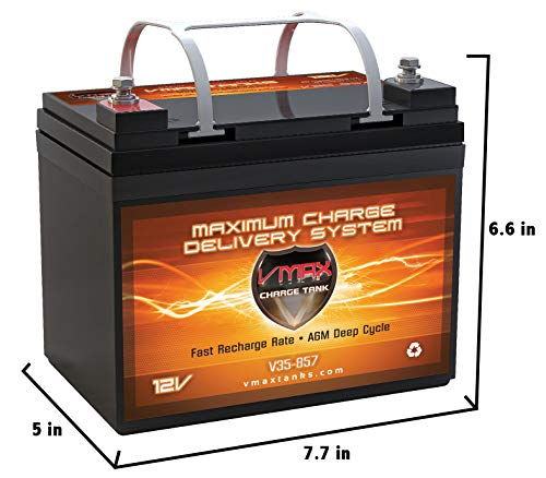 Batteries Boat Marine - VMAXTANKS VMAX V35-857 12 Volt 35AH AGM Battery Marine Deep Cycle HI Performance Battery Ideal for Boats and 18-35lb minn kota, minnkota, Cobra, sevylor and Other trolling Motor (12V 35AH, Group U1)