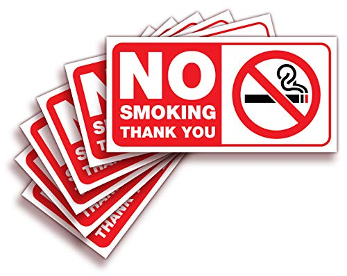 No Smoking Sign Sticker for House, Home & Business - 6 Pack 4x2 inch - Premium Self-Adhesive Vinyl, Laminated for Ultimate UV, Weather, Scratch, Water and Fade Resistance, Indoor & Outdoor ()