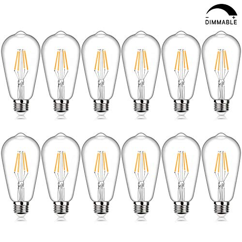LED Edison Bulb Dimmable, 4W Vintage LED Filament Light Bulbs, Warm White 2200K SHINE HAI ST64 Antique Style LED Bulb 40W Equivalent, E26 Medium Base, Pack of 12