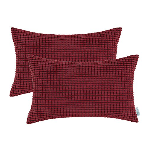 Garnet Red Case - CaliTime Pack of 2 Comfy Bolster Pillow Covers Cases for Couch Sofa Bed Comfortable Supersoft Corduroy Corn Striped Both Sides 12 X 20 Inches Burgundy