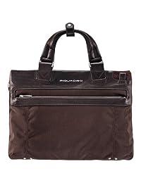 Piquadro Expandable Computer Portfolio Briefcase with iPad Compartment, Dark Brown, One Size