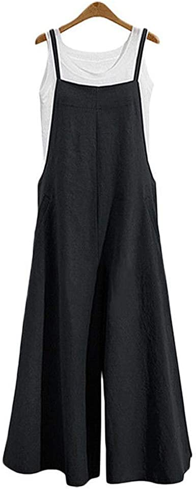 Women Beach Plus Size Cotton Jumpsuit Dungarees Playsuit Overalls Summer Trouser
