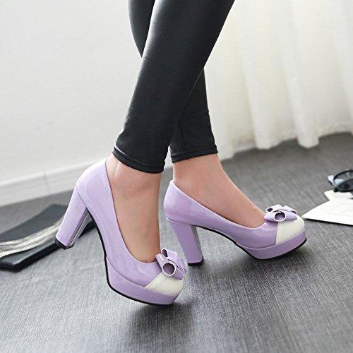 Charm Fot Kvinna Elegant Bågar Plattform Hög Klack Klänning Pumps Purple